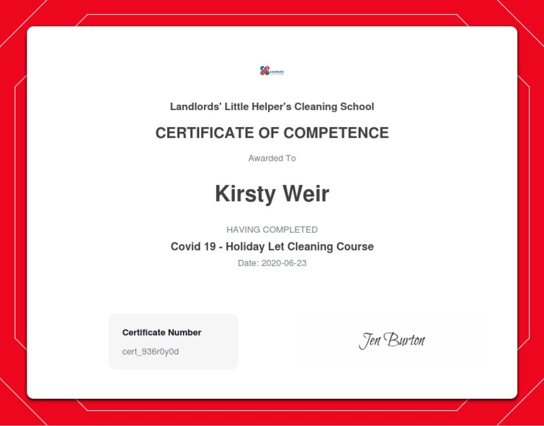 covid-19 cleaning certificate
